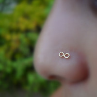 Infinity Nose Ring 14K Solid Yellow Gold by Holylandstreasures