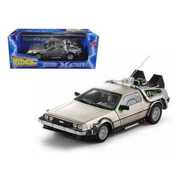 """Delorean Time Machine From Movie """"Back To The Future I"""" 1/18 Diecast Model Car by Sunstar"""