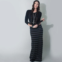Stripe Skirt, Women's Long Maxi, Black & Grey, xs s m l xl Tall Petite