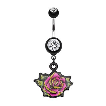 Retro Tattooed Rose Belly Button Ring