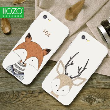 Lovely Deer Cartoon Animals Case For iphone 7 7plus Fox Deer Hedgehog Hard Back Cover Couple Phone Cases For iphone 6 6S Plus
