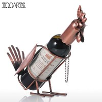 Tooarts Wine Rack Metal Modern Rooster Wine Holder Figurines Whisky Bottle Holder Wine Bottle Holder Home decoration Accessories