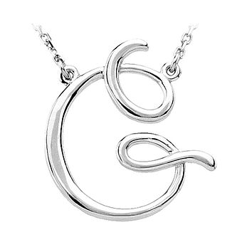 14k White Gold, Olivia Collection, Medium Script Initial G Necklace