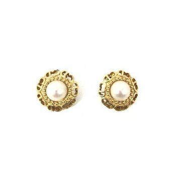 Christian Dior Pearl Clip On Earrings