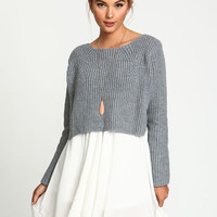 Grey Cropped Knit Sweater Top