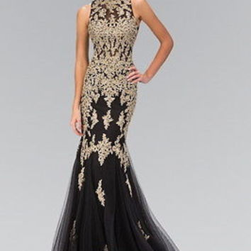 Runway Lace Designer Mermaid Gown Black gold & Champagne Prom dress $700