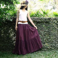 NO.5 Reddish-Purple Cotton, Hippie Gypsy Boho Tiered Long Peasant Skirt