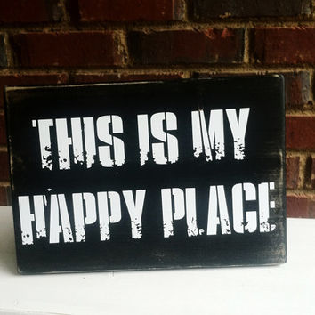 This is My Happy Place Distressed Font Sign Home Decor Dorm