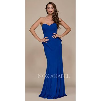 Strapless Long Prom Dress Cut Out Back with Ruffled Bustle Royal Blue