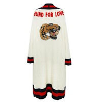 """Gucci"" Women Sequin Tiger Head Letter Embroidery Knit Long Sleeve Medium Long Section Cardigan Coat"