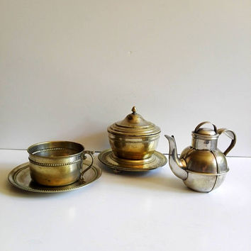Retro Tea Set, shabby chic french, silver plated, shabby chic decor, french antique, vintage tea set, tea pot, tea, tea lovers, tea gift set