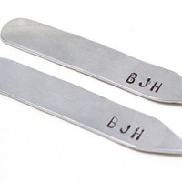 Personalized Initial Collar Stays - Monogrammed, Silver Collar Stays, Gifts for Men, Attorney Gifts
