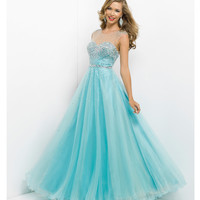 (PRE-ORDER) Pink by Blush 2014 Prom Dresses - Powder Blue Embellished Illusion Prom Gown