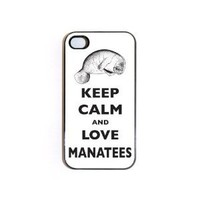 iPhone 4/4s TOUGH Case Keep Calm And Love Manatees
