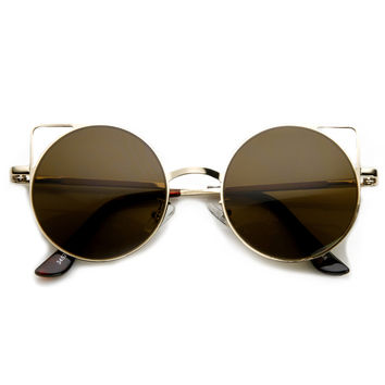 Women's Thin Laser Cut Metal Circle Cat Eye Sunglasses 9174