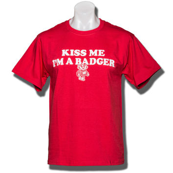 "Champion ""Kiss Me I'm A Badger"" T-Shirt (Red)"