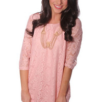 spin around lace shift dress - baby pink