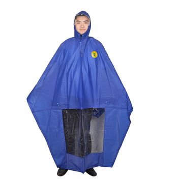 Motorcycle Single Person Style Plastic Raincoat Poncho Blue for Ladies Men