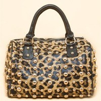 A'GACI All Over Leopard Gold Studded Satchel - New Arrivals