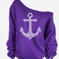 Anchor Printed One Shoulder Long Sleeve Sweater