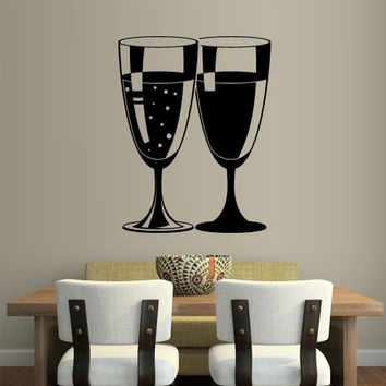 Wall Vinyl Sticker Decals Decor Art Wine champagne Kitchen Glass (z1235)