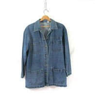 vintage oversized denim jean jacket field coat