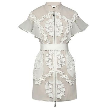 Lace Patchwork Organza Retro High Collar Butterfly Sleeve Mini Dress