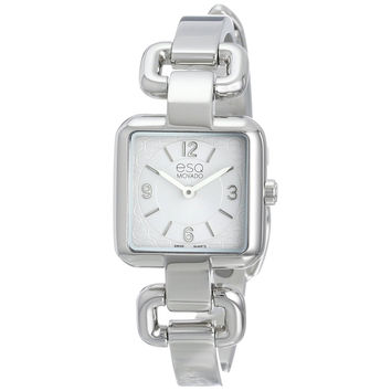 Movado ESQ Women's Swiss Silver Tone Square Watch Stainless Steel Band 7101420