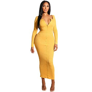 Yellow Long Sleeve Snap Button Ribbed Dress