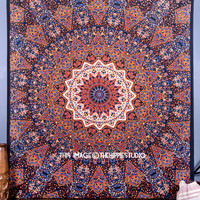 Psychedelic Star Mandala Tapestry Wall Hanging, Hippie Boho Wall Tapestries, Indian Bedspread Bohemian Room Décor, Dorm Bedding Tapestry Art