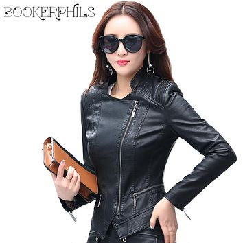 2017 New Spring Autumn Fashion Motorcycle Jacket Women Coat Plus Size Faux Leather Jackets Sheepskin Coat Female Jacket M-5XL