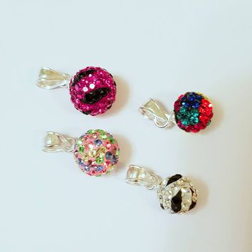 925 Sterling Colorful Cubic Zirconia Globe Pendant