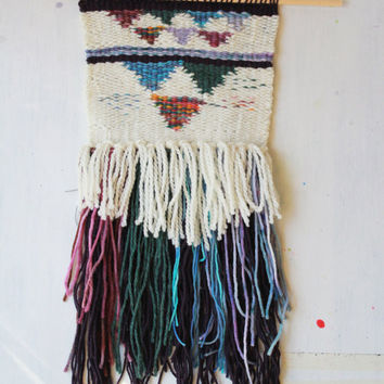 Handwoven Wall Art - Amanda J French Woven Tapestry with Fringe - Handspun and Hand-Dyed Yarn - Wall Hanging