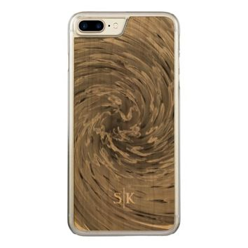 Whimsical Stylish Floral Swirl Monogram Artisan Carved iPhone 7 Plus Case