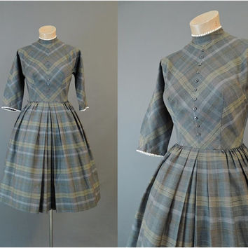 50s Grey Plaid Day Dress, fits 33 bust, Bobbie Brooks, Vintage 1950s Day Dress with Full Skirt