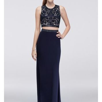 Embroidered Two-Piece Dress with Beading - Davids Bridal
