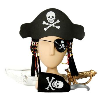 Halloween Kids Captain Pirate Set With Hat & Hair Hook Sword Eye Patch Earring