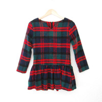 Vintage Plaid Tartan Ruffle Peplum Shirt Top Red Blue Green