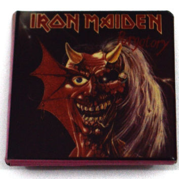 Vintage 80s Iron Maiden Purgatory Badge Pinback Button Pin
