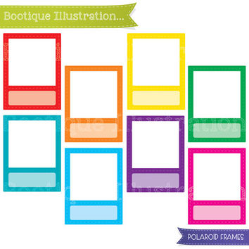 Polaroid Frames Clipart Set. Rainbow  Frames Clipart Digial Graphics for Personal and Commercial Use* Png, Jpeg, Eps Included