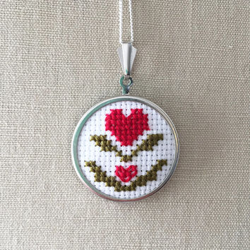 Valentine's Day Cross Stitch Heart Necklace Jewelry Embroidered Heart Pin or Pendant Stitched Heart Pendant Swedish Design Inspired
