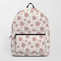roses and peonies Backpack by sylviacookphotography