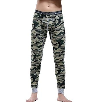 Hot Winter Warm Men Cotton Camouflage Leggings Tight Men Long Johns Plus Size Warm Underwear Man Thermal Underwear 6 Colors