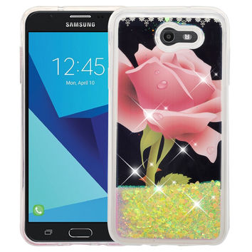 Samsung Galaxy J7 (2017) / J7 Sky Pro / J7 Perx / J7 V / J7 Prime / Galaxy Halo Case, Luxury Bling Glitter Liquid Quicksand Cover - Hot Pink Rose