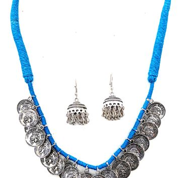 Dori thread Oxidized Queen charm Necklace and Earring set