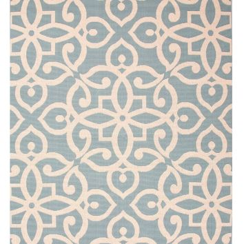 Sky Blue Fretwork Pattern Outdoor Rug