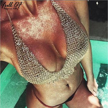 2018 Sexy Women Gold Metal Chest Chain Camis Tank Crop Top Womens Backless Sequin Hollow Luxury Night Club Party Halter Tops New