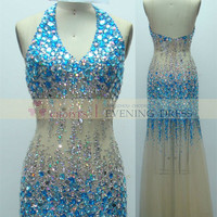 Freeshipping DW62103-2 Halter Champagne Blue Deep V-Neck Backless Crystal Stone Evening dress, View Evening dress, Chaozhou Choiyes Evening Dress Product Details from Chaozhou Choiyes Evening Dress Co., Ltd. on Alibaba.com