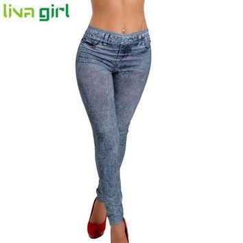CREYCI7 2016 New Fashion Jeans Women Pencil Pants High Waist Jeans Sexy Slim Elastic Skinny Pants Trousers Fit Lady Bodycon Jeans Oct10