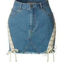 LE3NO Womens Casual Vintage Frayed Lace-Up A-Line Mini Denim Skirt